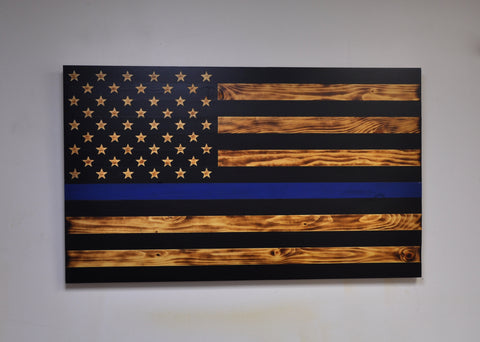 Thin Blue Line Flag with Carved Stars