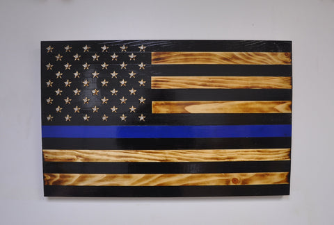 Thin Blue Line Flag with Carved and Shell Casing Stars