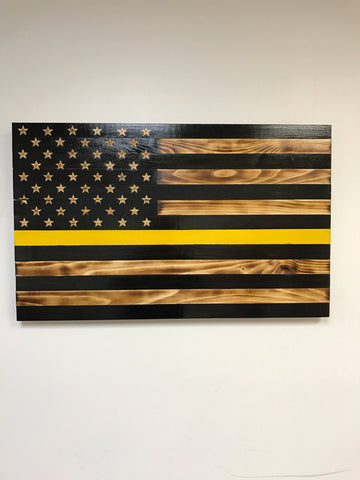 Thin Yellow Line Flag with Carved Stars