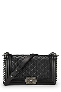 CHANEL Black Quilted Calfskin Boy Medium  Handbags: