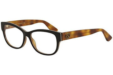 Eyeglasses Gucci GG 0098 O- 003 003 BLACK / AVANA: Clothing