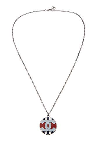 CHANEL Silver & Multicolor Enamel 'CC' Necklace (Pre-Owned)