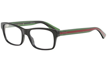 Gucci GG 0006O 006 Black/Green Plastic Rectangle Eyeglasses 55mm: Clothing