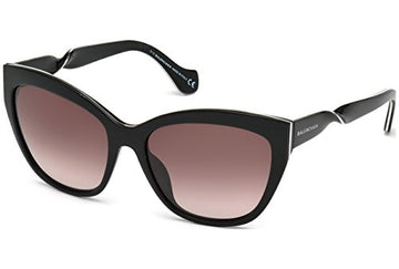 Balenciaga Women's BA52 BA/52 01Z Shiny Black/Silver Fashion Sunglasses 56mm
