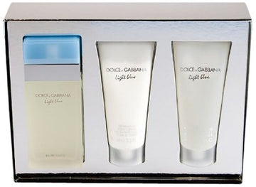 Light Blue by Dolce Gabbana 3 Piece Gift Set, 3.4 oz Eau de Toilette Spray, 3.3 oz Body Cream, 3.3 oz Shower Gel