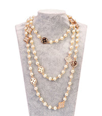 Fashion Jewelry Faux Imitation Pearl first grade Flower Charm Necklace for Women