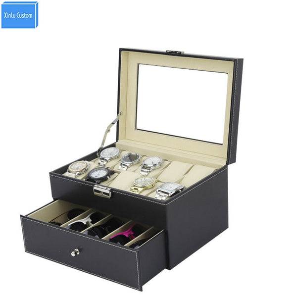 Black Sew Pu Leather Store 2 Layer Display Collect Case with Drawer Watches Box 10 Slots Storage Grids 5 Sunglasses Storage Box