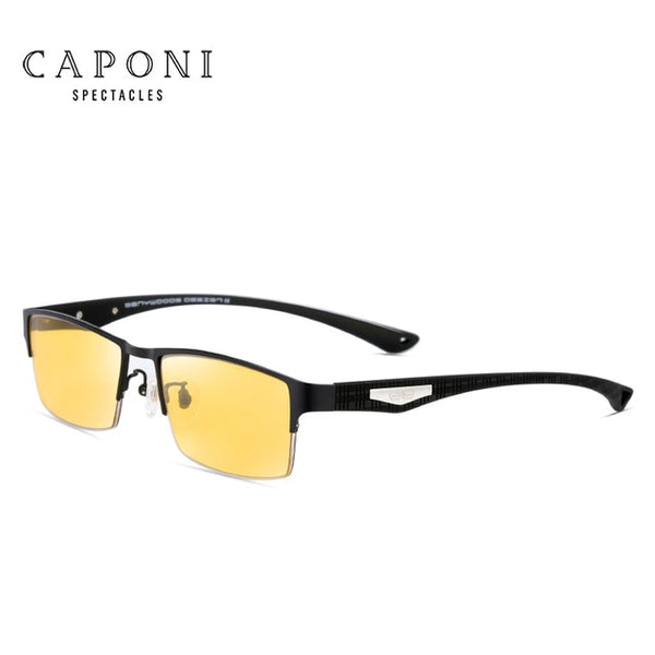 Caponi Men Pure Titanium Photochromic Polarized Sunglasses Semi-Rimless Eyewear Frames UV400 BSYS9019