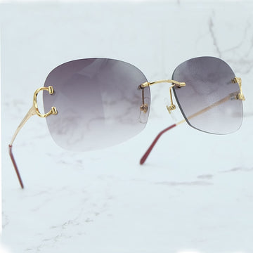 Vintage Sun Glass Rimless Irregular Sunglasses Men Fashion Carter Sunglass Women Shade Eyewear Luxury Design Popular Sun Glasses