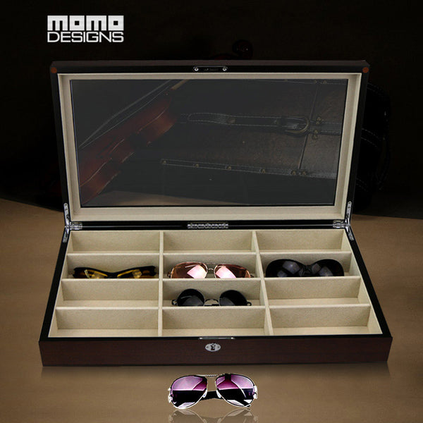 Wooden Glasses box 12 Sunglasses storage box Top window for Women glasses packing box Home collection /Birthday gift