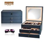 Wooden Sunglasses storage box 24 packaging box for glasses organizer display Jewelry showcase High end Carbon PU wrapped