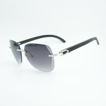 Vintage Black Mix White Buffalo Horn Oversize Sunglasses Men Diamond Cutting Lens Wooden Shades Rimless Glasse for Outdoor Gafas