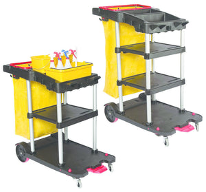 2 Tier Auto Janitor Cart Dock'n Lock