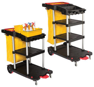 3 Tier Auto Janitor Cart Dock'n Lock