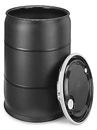 55 Gallon Drum w/lid Black