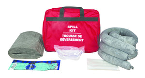 Vehicle Spill Kit - Includes 1 Red Zipper Bag, 10 Universal Pads, 3 Oil Only Socks, 1 Pair Nirtile Gloves, 1 pair Splash Goggles, 1 Disposable Bag