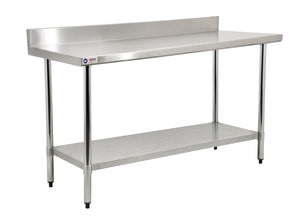 Stainless Steel Table With Undershelf + Backsplash