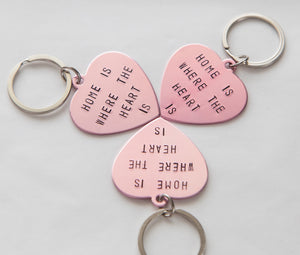Home is Where the Heart Is keychain, hand stamped pink heart keyring, new home gift custom stamped