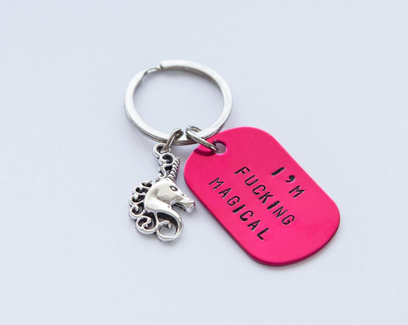 Unicorn magical keychain, pink hand stamped keyring, I'm F-ing Magical, fuchsia pink keyring