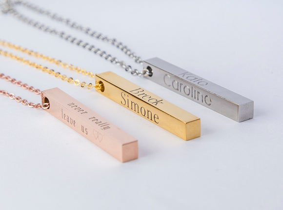 Custom Name Coordinates Vertical Bar Necklace Personalized Gift Mom Baby 3D bar Necklace