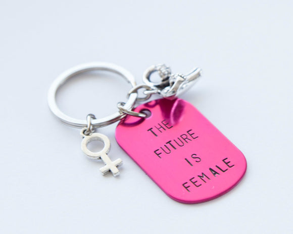 The Future is Female keychain, pink feminist hand stamped keyring, personalized accessory