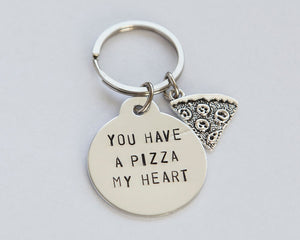 You have a pizza my heart anniversary keychain, pizza lover keychain, funny gift for him or her