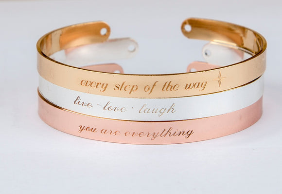 Engraved bracelet, personalized inspirational quote engraved gift, mom gift, gift for sister