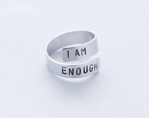I Am Enough Ring, Feminist Ring, lightweight aluminum gift, empowered best friend gift