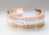 Survivor Bracelet, Cancer Survivor Gift, Strength Cuff Bracelet, Survivor Ribbon Jewelry