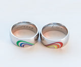 Gay Pride Rainbow Heart Ring Set Equal Love Gift Gay pride gift Lesbian pride gift LGBTQ heart rings