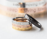 Keep Fucking Going Ring Engraved Personalized Gift Women Motivation Ring for her