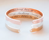 Secret Message Engraved Bracelet, Personalized Engraved Gift Inside Message Cuff