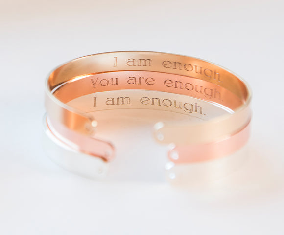 I Am Enough Bracelet, Engraved Secret Message Bracelet, I am Enough Inspirational