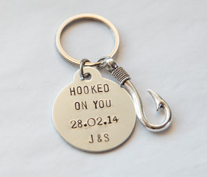 Hooked on You anniversary keychain, fishing lover keychain, funny gift for him or her