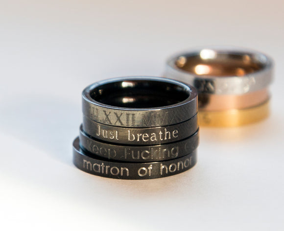 Black Stacking Ring Black Engraved Ring, Personalized Gift Women Ring Motivation Ring
