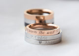 Couple Rings Personalized Couple Gift, Rose Gold Promise Ring, Purity Rings