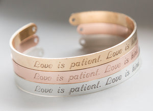 Love is Patient Love is Kind Bracelet, Religious Gift Christian Cuff, 1 Cor 13 Jewelry