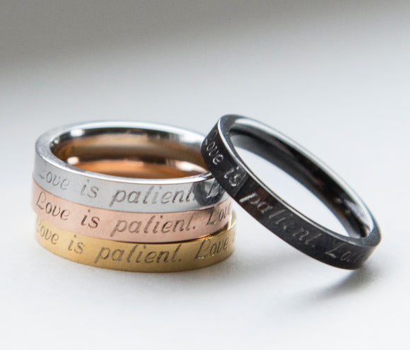 Love is Patient Ring, Purity Ring, Christian Ring, Love is Kind, 1 Corinthians 13, Bible Verse Ring