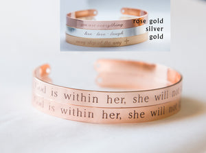 God is Within Her She Will Not Fail Bracelet Gift Christian Cuff Bracelet, Religious Jewelry