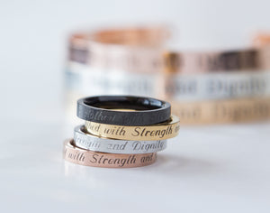 She is Clothed with Strength and Dignity Ring, Proverbs 31:25 Religious Gift Women Ring
