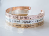 She Is Clothed With Strength And Dignity Bracelet Gift Christian Cuff Bracelet, Proverbs 31:25 Jewelry