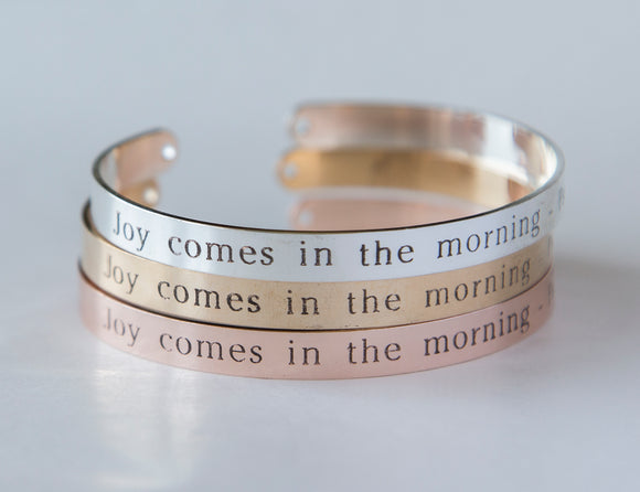 Joy Comes in the Morning Bracelet Gift Christian Cuff Bracelet, Psalm 30:5 Engraved Bracelet