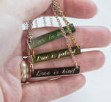 Love is Patient Love is Kind Necklace 1 Corinthians 13 Verse Bar Pendant, Christian Scripture Gift