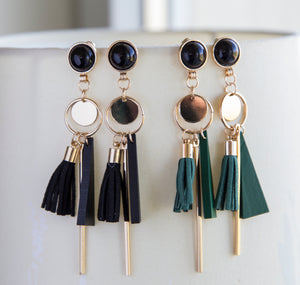 Black or green tassel boho earrings long statement earrings for her, black, green tassel boho earrings