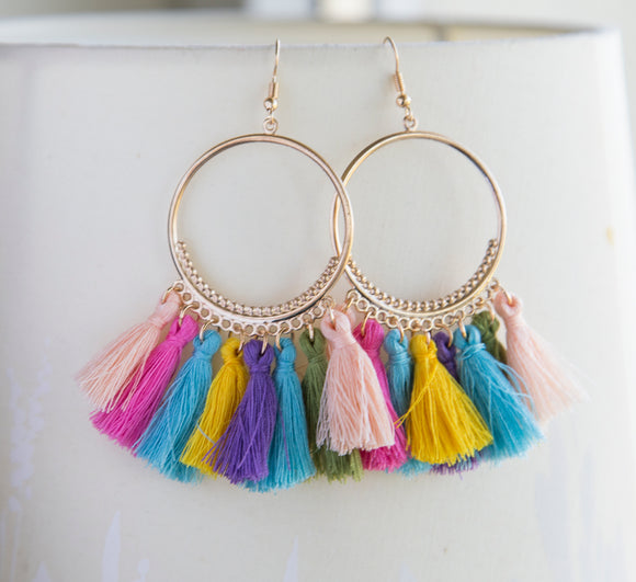 Rainbow tassel boho earrings huge statement earrings for her, colorful tassel boho earrings