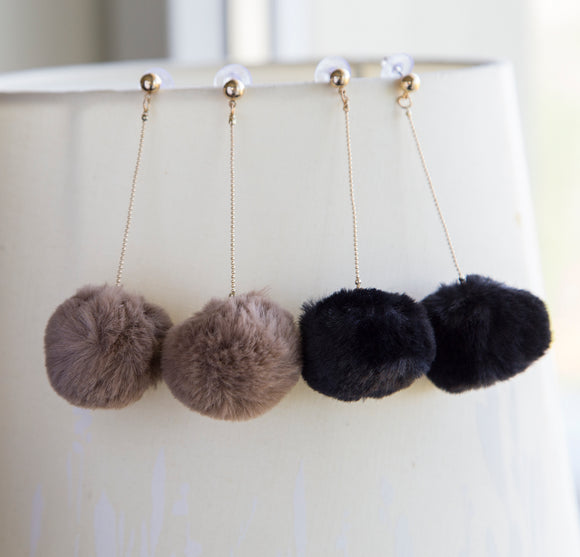 Large pompom boho earrings long statement earrings for her, large soft pompom boho earrings