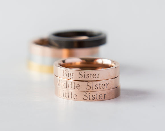 Lil Sis Big Sis Ring Personalized Sister Gift, Rose Gold Little Big Middle Sis