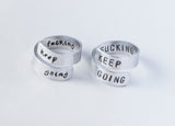 Keep fucking going Twist Ring Motivational Wrap ring funny aluminum ring friend gift