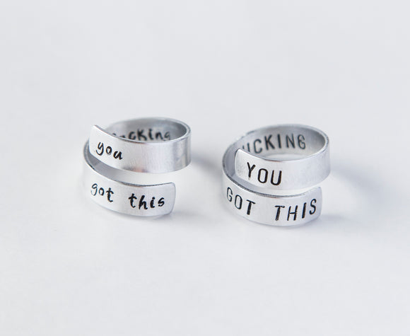 You F-ing Got This Twist Ring Motivational Wrap ring funny aluminum ring friend gift