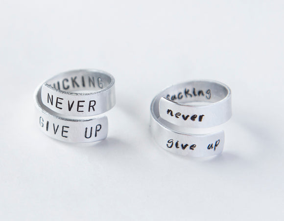 Never Fucking Give Up Ring, Cancer Survivor ring, Cancer Victory Jewelry Cancer Awareness